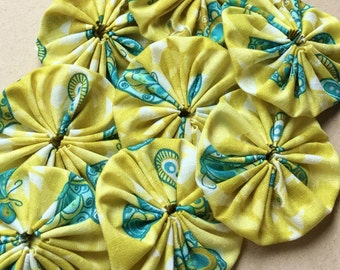 2 inch chartruse green and aqua blue fabric yoyo embellishments of butterfly print--ready to ship--matching lot of 8