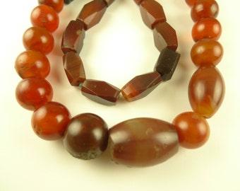"20"" strand Idar-Oberstein agate carnelian stone beads old African trade AF-0009"