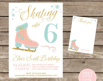 DIY Ice Skating Birthday Invitation Kit - Invite AND Thank You Card included
