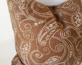 Brown Pillow Cover - Brown Pillow - Pillow Cover - Brown and Gold Pillow - Linen Pillow - Paisley Print Pillow - Designer Pillow