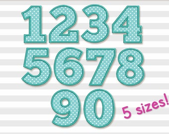 Coupon Codes!  Birthday Numbers Set Applique Machine Embroidery Design 5 sizes BS004