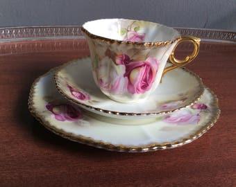 pale pink antique  bone china tea cup trio