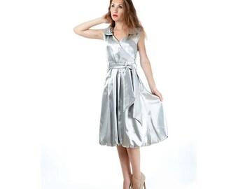 Vintage Balloon Dress, Fabulous Shiny-Silver Caressing Satin, Unique Vintage Dress, Below-Knee Dress, Midi Summer Dress, Women Vintage Dress