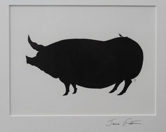Pig Ink Silhouette and pig mounted signed  silhouette and pig black silhouette and pig black drawing and pig unframed and pig pen and ink