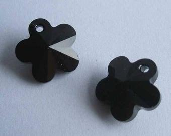 4 SWAROVSKI 6744 Flower 14mm crystal pendant JET