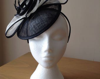 Black and Ivory Cream Sinamay and Disc Fascinator on a hairband, weddings, Royal Ascot, Kentucky Derby, Melbourne Cup