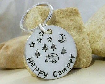 Happy Camper Keychain, RV Camper Gift, Camping Accessories, Wanderlust Keychain, Travel Gift, Hand Stamped, Personalized Keychain