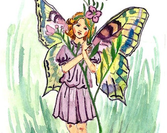 ACEO Limited Edition 1/25-Lady's smock flower fairy inspired by Cicely Mary Barker, Flower fairy, Art print of original ACEO watercolor