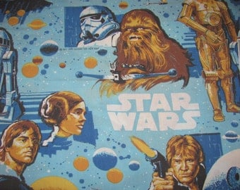 Vintage Star Wars - A New Hope Twin Flat Sheet - Blue with Luke, Leia, Han, C3P0, R2D2, Chewie, Vader, Death Star - Small Hole