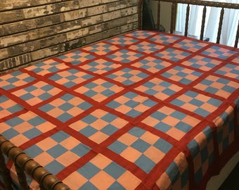 Vintage Quilt Top / Patriotic Quilt Top / Red, White and Blue Quilt Top / Handmade Quilt Top / Homemade Quilt Top