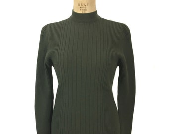 vintage 1990's VERSACE V2 ribbed sweater / olive green / mock turtleneck / wool blend / 90's style / women's vintage sweater / tag size XL