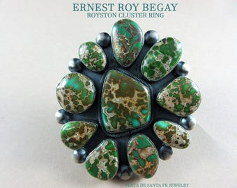 "Navajo""Ernest Roy Begay""~Incredible Royston Turquoise~Vintage Revival SZ. 8-3/4 Ring~Free Shipping!"