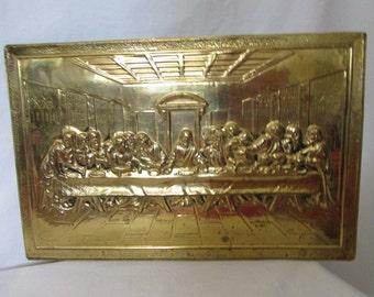 Hammered Brass Last Supper Plaque Handmade England Vintage