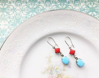 Vintage Cherry Red & Turquoise Jewel Dangle Earrings on Silver Small Kidney Wires, Hypoallergenic, Blue and red earrings