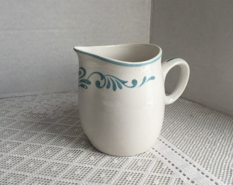 Franciscan Ware Whitestone White Creamer with Blue Hearts  Blue Fancy Vintage Interpace Made in Japan