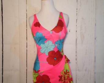 Vintage 60s 70s Psychedelic Floral Swimsuit - Marilyn K of California - Pinup - Skirt