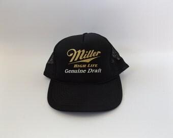 Miller High Life Trucker Hat Vintage 90s Black Gold Beer Baseball Cap Mens Womens One Size Hipster Hippie Party Shirt Tee 1990s Boho Grunge