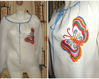 Vintage 1960s Peasant Blouse Hand Embroidered Butterfly Hungarian Folk Top Thin White Nylon Hungary Boho Festival M