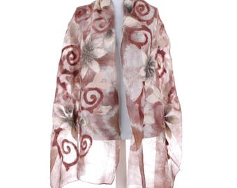 Scarf, Felt Scarf, Felted Scarf, Nuno Felted Scarf, Felted Shawl, Wrap Scarf, Silk Scarf, Felt Wrap, FAST shipment with UPS or FEDEX - 10532