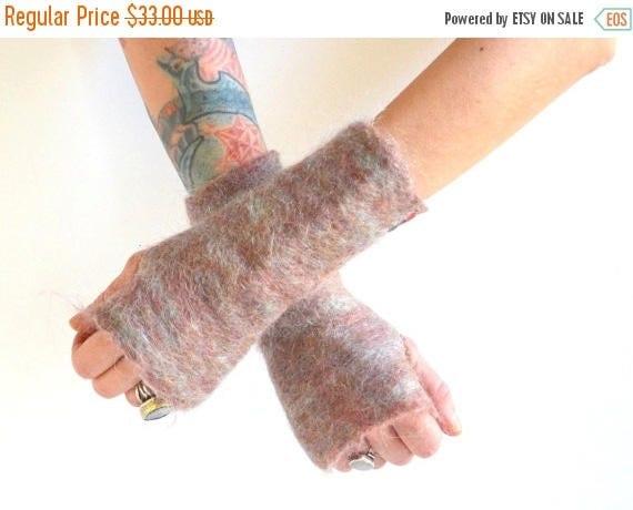 SUMMER SALE Felted Fingerless Gloves - Felted Mohair Gloves - Fingerless Gloves - Pink Gloves