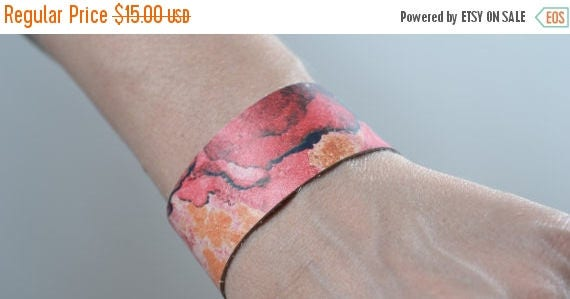 SUMMER SALE Abstract Leather Cuff Bracelet - Leather Cuff Bracelet - Leather Cuff - Summer Accessories - Pink Leather Cuff