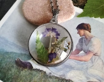 Lavender  Necklace, Fern Necklace, Terrarium Necklace,Anne Lace Pendant,gift for her,Organic Necklace, Nature Jewelry, Hand Made