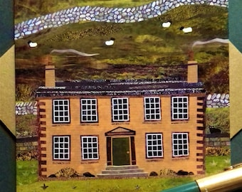 Brontë Sisters, Greeting Card, Haworth Parsonage, Collage, Naive Art, AmandaWhite Design, Brontë Country, Writers Houses, Booklovers' Card,