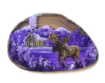 Hand Painted Brazilian Agate Magnet Lavender Mountain Winter Cabin and Moose