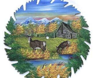 Hand Painted Saw Blade Mountain Fall Whitetail Deer Log Cabin