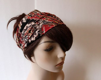 Black Red Camel Cream Paisley Turban Head Wrap, Workout Headband, Women's Yoga Headband, Turband Womens Gift for Her Hair Accessories