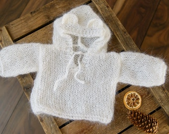 Mohair Knit Teddy Bear Outfit, Hooded Baby Bear Outfit, Sitter Outfit 6-12, Knits Bear, Knit photo props, Photography props, Sitter size
