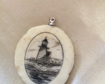 Vintage Lighthouse Scrimshaw / Signed Lighthouse Scrimshaw / Collectible Art