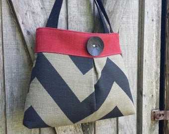 Pleated Black and Red Chevron Handbag Purse Tote with Button