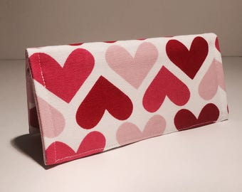 Fabric Checkbook Cover - Multi Colored Hearts with Pink Interior
