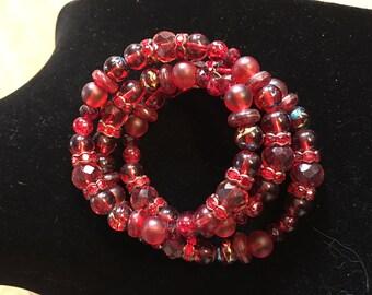 Red Spiral Bracelet - Adult