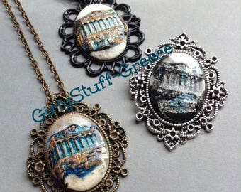 Ancient Greek Design Cameo Pendant Necklace, Handmade Cameo, 30x40 mm, The Parthenon, Acropolis, ancient Greece, made in Greece