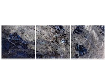 Blue Metal Art 'Storm Blue Triptych Large' by Emley - Abstract Artwork Expressionist Wall Art on Metal or Acrylic
