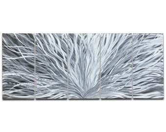 Abstract Metal Art 'Blooming' by Nate Halley - Modern Urban Artwork Silver Wall Decor on Natural Aluminum