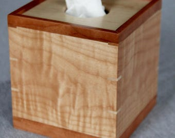 Boutique Tissue Box Cover Handmade out of Curly Maple and Cherry- FREE Shipping To USA