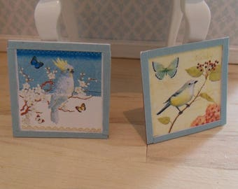 2 dollhouse framed pictures (blue)
