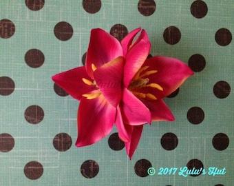 Double Tulip Flower Hair Clip//Flower Clip// Beach Weddings// Bridal Hair