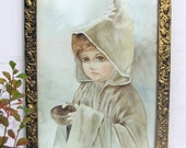 20%SALE Antique Painting, Spiritual Painting, English Child, Late 19th Century, Gilt Baroque Frame, by A. Wixom, Ready to Hang