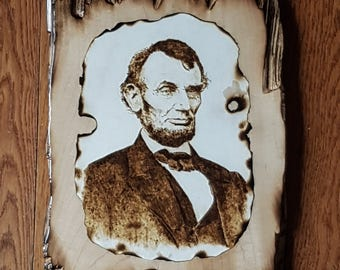 Abraham Lincoln Pyrography Art Wall Portrait Wood Burning Historic Photo plaque American President Abe Lincoln Photo burned photograph old