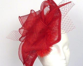 NATALIE - Red Diamond Shape Fascinator Hatinator Hat Headpiece for Weddings Derby Royal Ascot Kentucky Derby Ladies Day Races