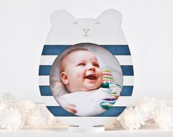 Nautical Picture Frame, Blue Children Room Decor, Blue Baby Shower Gift, Blue Nursery Decor, Photo Frame, Baby Boy Gift, Bear Lover Gift