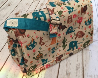 Baby changing bag, alphabet animals messenger bag, waterproof bag, baby changing bag, diaper bag, baby shower gift, new baby gift, sloth bag