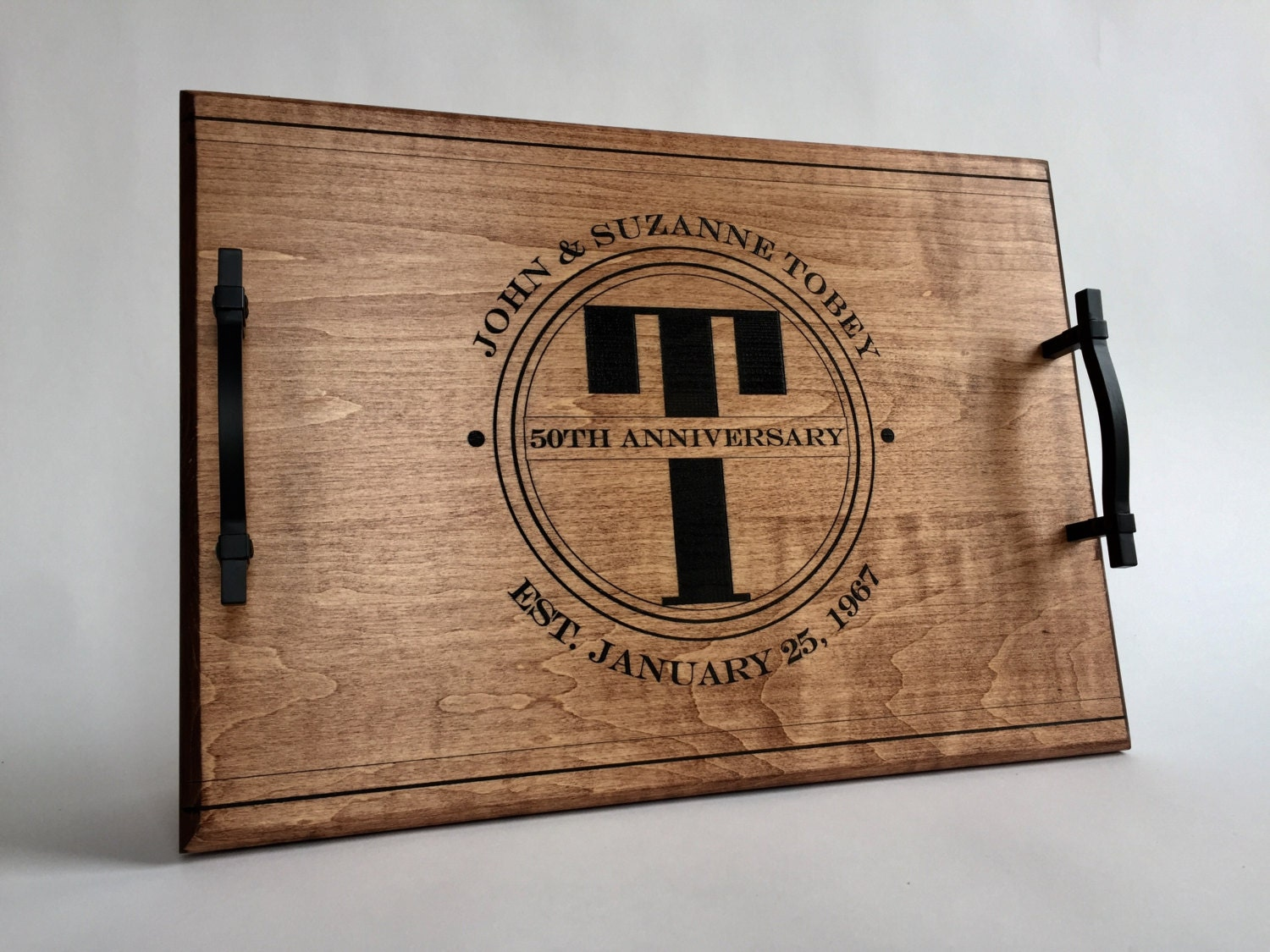 6 Wedding Anniversary Gift: 50th Wedding Anniversary Personalized Serving Tray Engraved