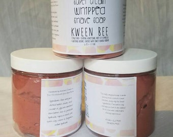 Super Cream Whipped Shave Soap-Kween Bee-Mixed Lye Cream Soap with Pink Clay