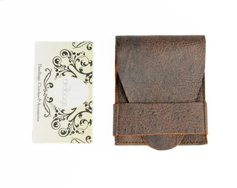 "Brown Distressed Leather Card Wallet, Business Card Holder, Birdbags ""Beak"""