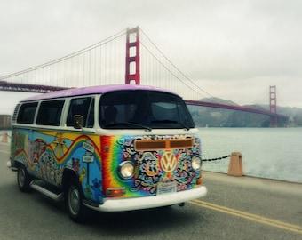 VW at Golden Gate Bridge Photo Print